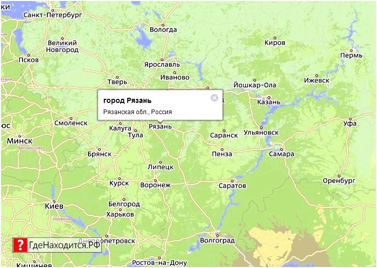 На карте Рязань