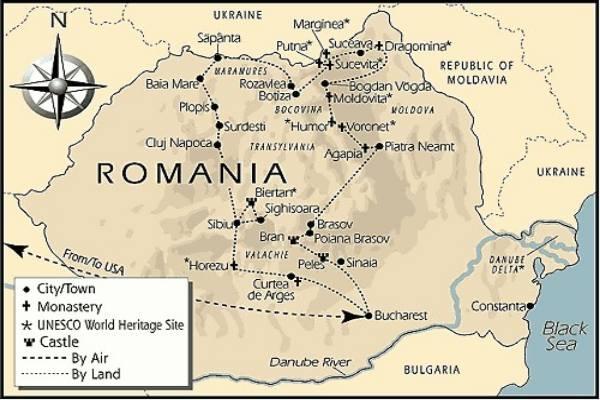 Румыния-Трансильвания и замок Бран (Дракулы) на карте