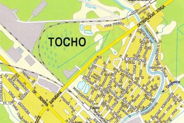 г. Тосно карта улиц и вокзал