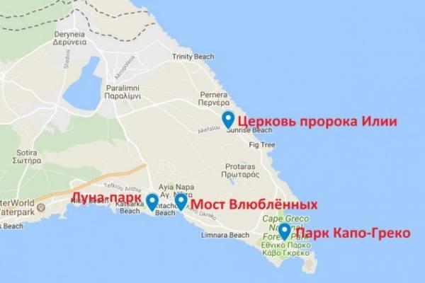 карта достопримечательностей Протарас