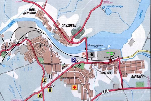 карта подпорожья ленинградской области