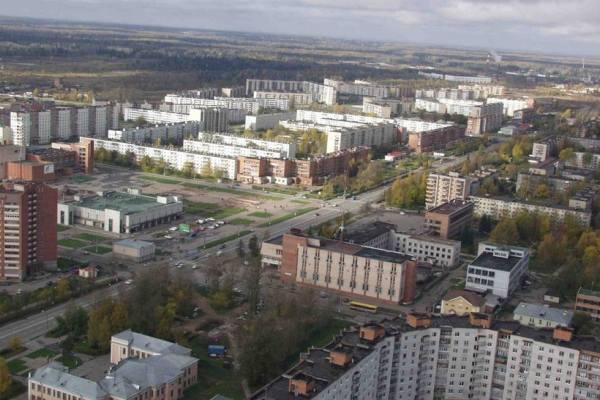 вид сверху на город Тосно